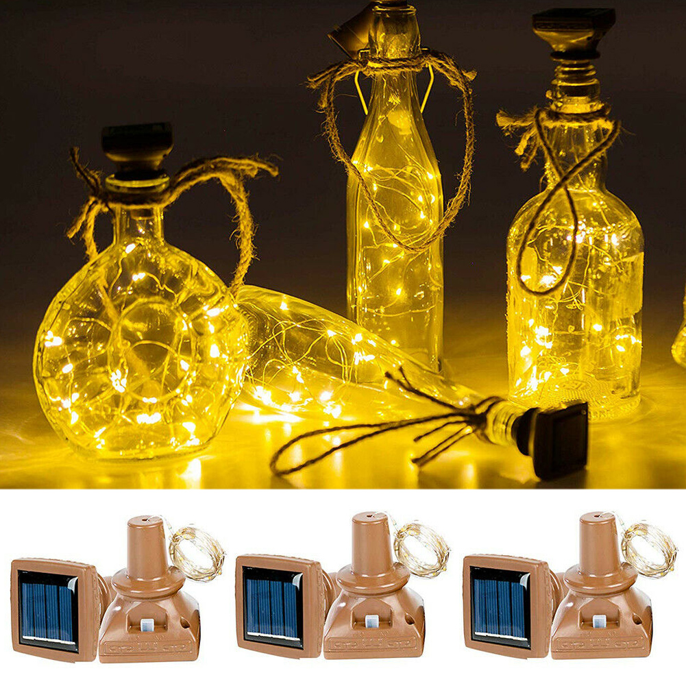Feastival Muticolor Warm Cold Energe Save Classical 2M 20 LED Wine Bottle Cork Copper Wire Fairy Lights Starry Solar Powered