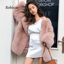 2019 autumn and winter long womens jacket new long-sleeved faux fur coat