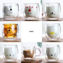 Mug Bear Glass-Mugs Coffee-Cup Milk-Cup Gift Animal Double-Wall-Glass Cute Dog Cat