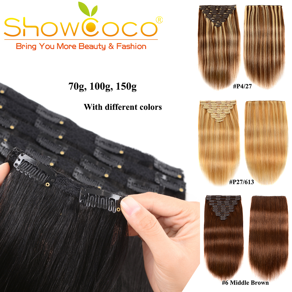 220g 240g Clip In Hair Extensions Human Hair Remy Clip In Hair Pieces 13 Colors ShowCoco Clip In Extensions For Women