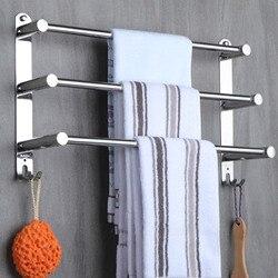 Cremalheira de toalha de aço inoxidável flexable ajustável 50 a 90 cm 3 laços braço suporte toalha barra trilho cabide fixado na parede para o banheiro