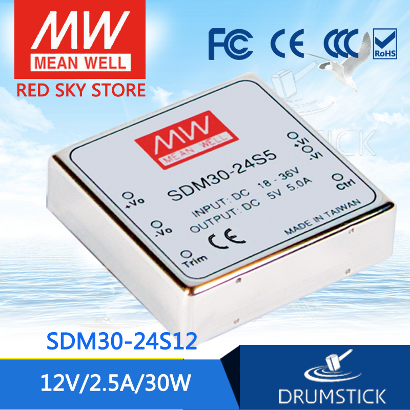 nice MEAN WELL 2Pack SDM30-24S12 12V 2.1A meanwell SDM30 12V 25W DC-DC Regulated Single Output Converter