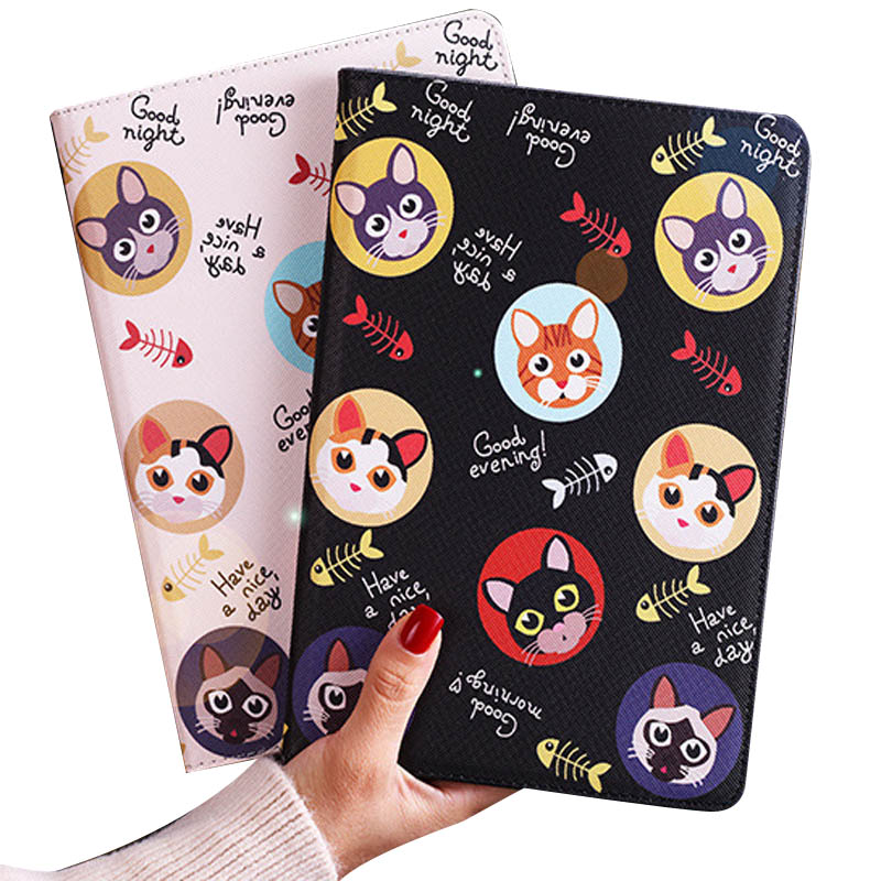 Case For New Ipad 10.2 2019 7th Gen Flip Smart Stand Cover Pu Leather Cute Cat Cartoon Illustration Case For Ipad 10.2 Inch