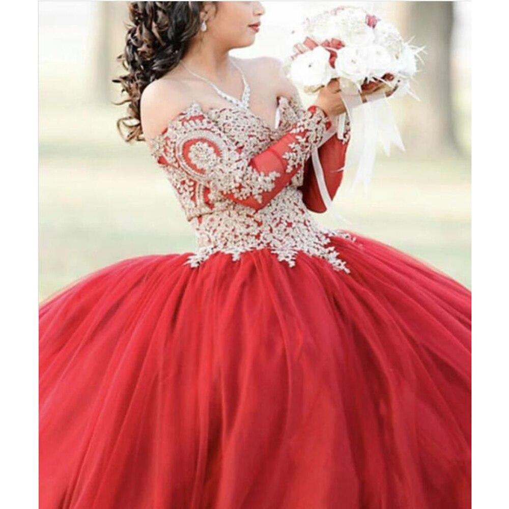 2020 princesse robe de bal Quinceanera robes avec Appliques manches longues hors de l'épaule Corset rouge bordeaux doux 16 robe de bal