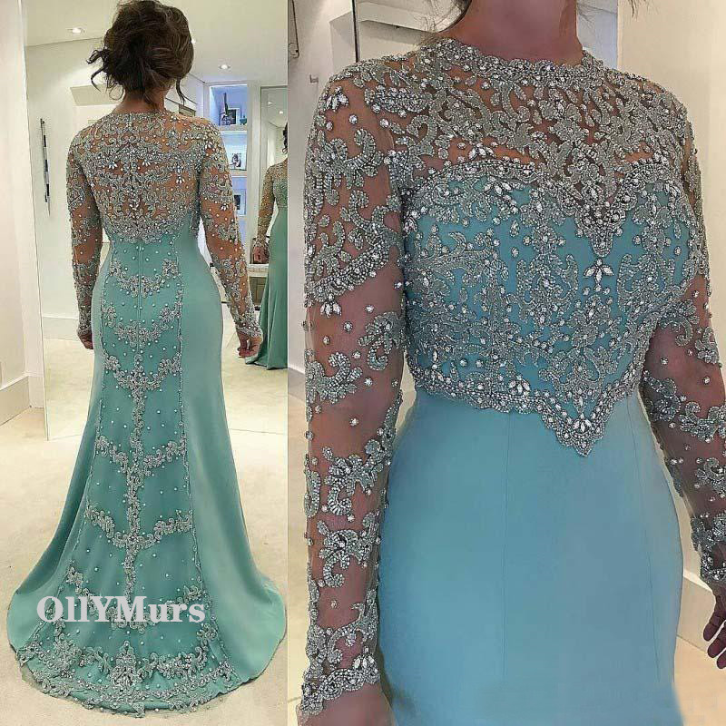 Vintage Mermaid   Evening     Dress   Long Sleeve Crystal Lace Appliqued Plus Size Chiffon Bridal Mother Of The Bride Formal   Dresses