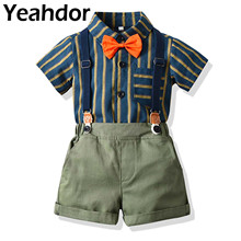 2Pcs Baby Suits Kids Outfits for Boys Gentleman Bowtie Short Sleeve Shirt +Suspender Shorts Birthday Boy's Suits Children's Set