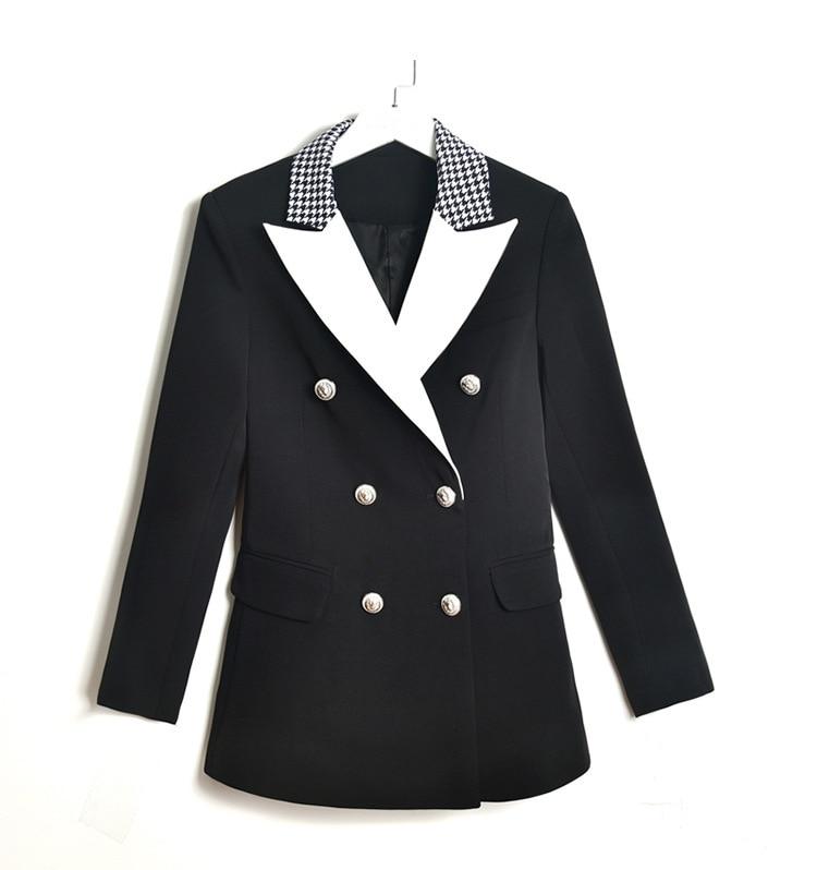 Runway Designer Women Vintage Elegant Blazer Long Sleeve Suit Jacket Coat High Quality Double Breasted Blazers Femme Tops 2019
