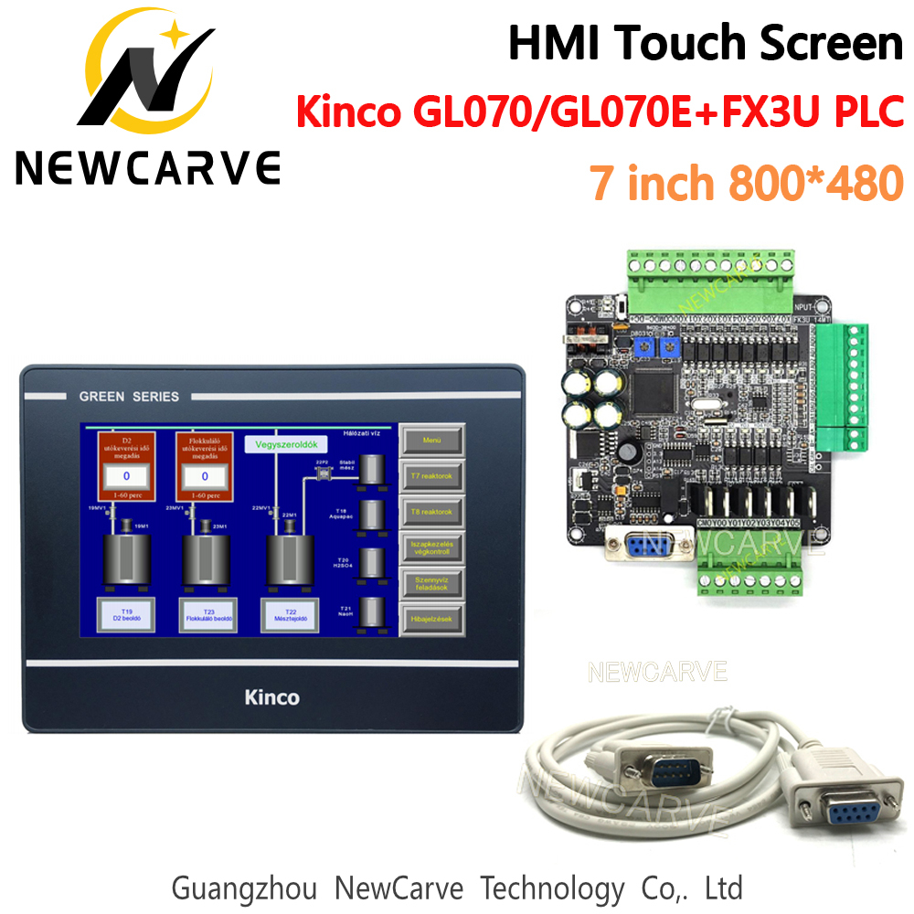 Kinco GL070 GL070E HMI Touch Screen And FX3U 14/24/32/48/56 MT/MR PLC Industrial Control Board With Communication Cable Newcarve