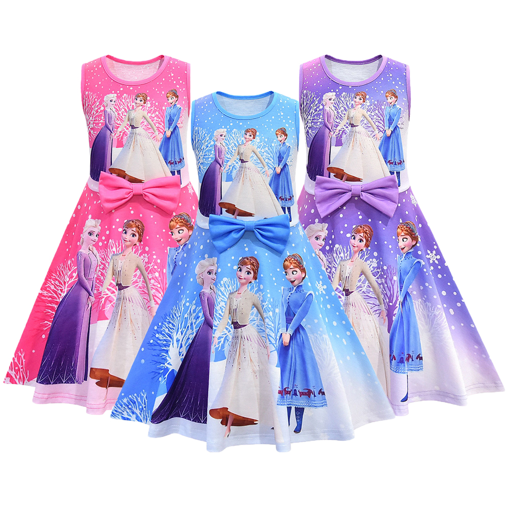 Ice Snow 2 Girls Elsa Anna Dress Birthday Gift Party Princess Summer Dress Elsa Anna Snow Queen Cosplay Children Clothing