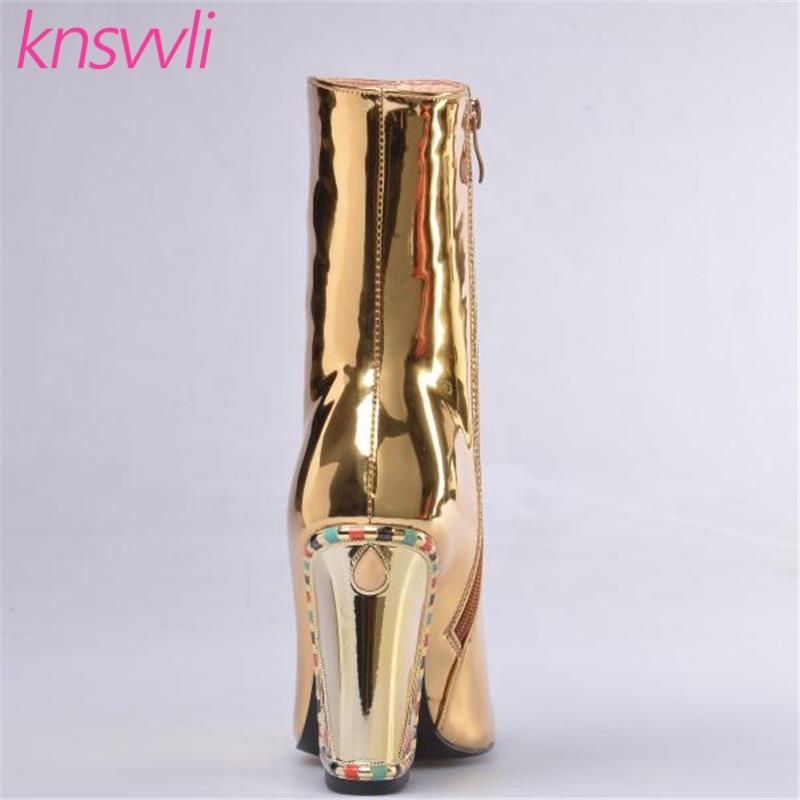 Knsvvli nouvelles bottes de piste strass Chunky talons hauts bottines femmes or miroir Surface chaussures d'hiver femme Chelsea bottes - 4