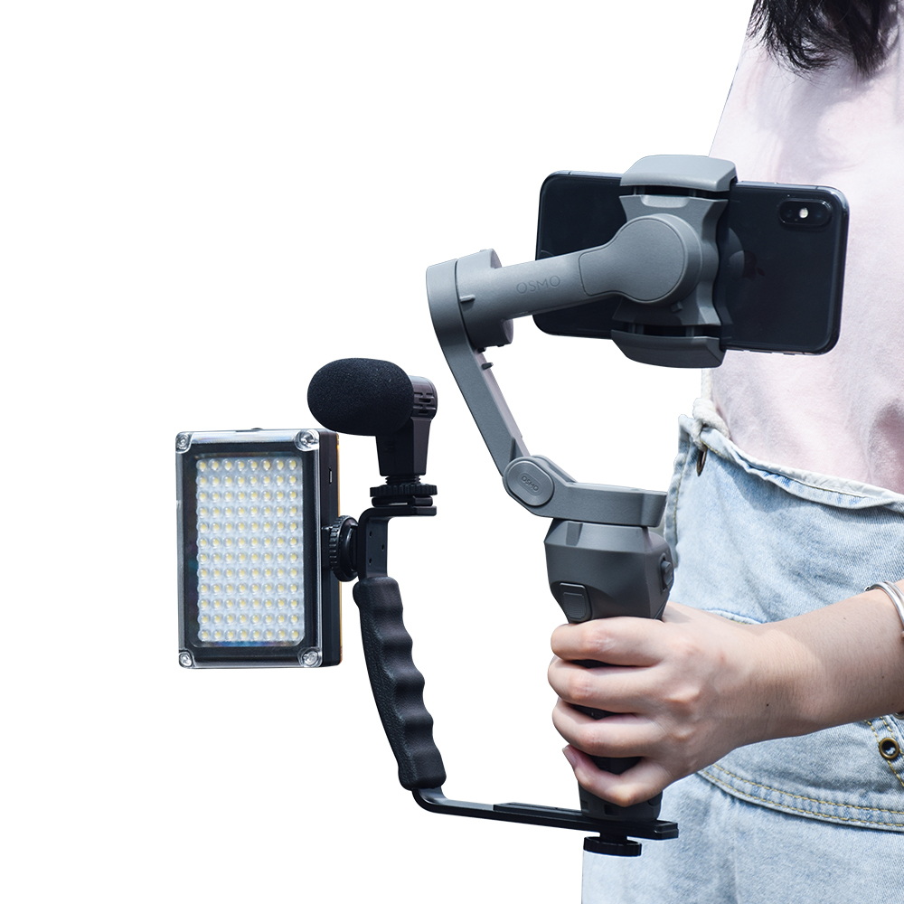 L Shaped Handle Holder For DJI Osmo Mobile 3 2 Stabilizer Folding Tripod Extension Rod LED Video Light Mount Microphone Bracket