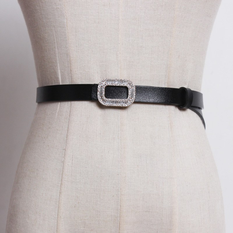 Hot Sale 2020 New Design Leather Belts For Women Solid Black All-match Casual Trendy Fashion Waistband Diamond Female Belt ZK236