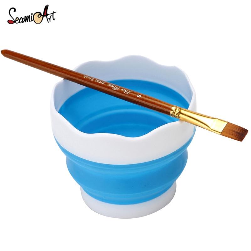 Fold Silicone Art Paint Brushes Washing Bucket Multifunction Pen Holder Wash Brush Art Material Tools Supplies