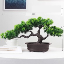 1 PC Welcoming Pine Mini Bonsai Fake Green Pot Plants Simulation Decorative Artificial Tree Ornament Home Desktop Decor