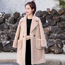 Winter Women Warm Teddy Lezy Coats Imitation Lambs Plush Wool Overcoats Notch Collar Faux Berber Fleece Fur Outerwear Blue Camel