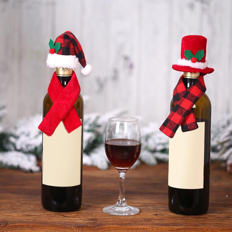 Christmas Hat Scarf Red Wine Bottle Cover Bags Dinner Table Xmas Decoration For Home Adornos De Navidad