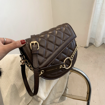Diamond Lattice Small Circle Bag Chain Designer Luxury Women's Bag Famous Brand Female Crossbody Shoulder Bag Quilted Handbags women quilted chain shoulder bag wide strap plaid messenger handbag female leather tote bags small diamond lattice crossbody bag