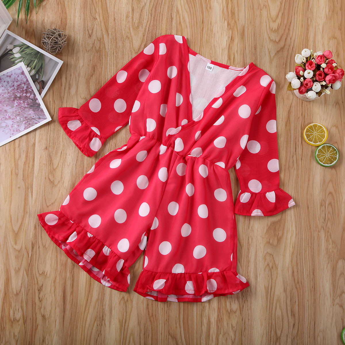 Pudcoco Toddler Baby Girl Clothes Polka Dot Long Sleeve Romper Jumpsuit One-Piece Outfit Sunsuit Overall Clothes