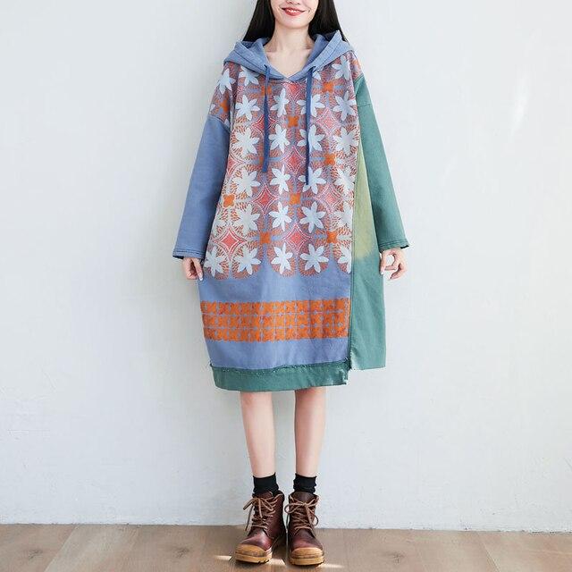 Robes en coton tricoté en vrac femmes automne impression manches chauve-souris robe surdimensionnée irrégulière à capuche robe grande taille Vintage Baggy robe