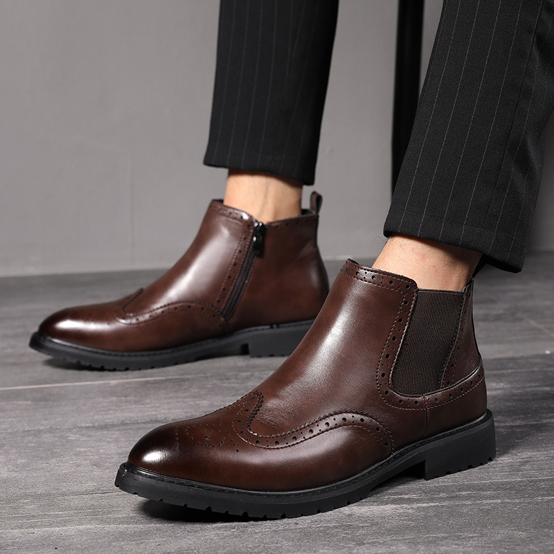 Expressive Autumn Early Winter Men Boots Leather Chelsea Boots Fashion Brand Men Ankle Boots Non-slip Male Shoes Black Brown Ka1999 To Have A Unique National Style