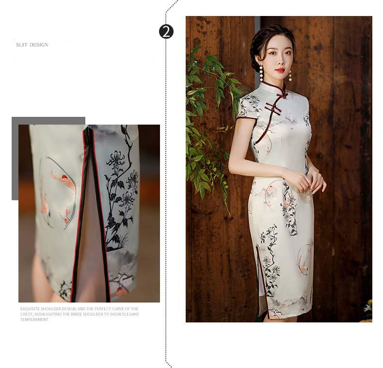 retro elegante melhorado qipao flor impressão vestido