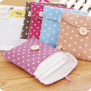 Korean-Style Fresh Cotton Linen Sanitary Napkin Storage Bag