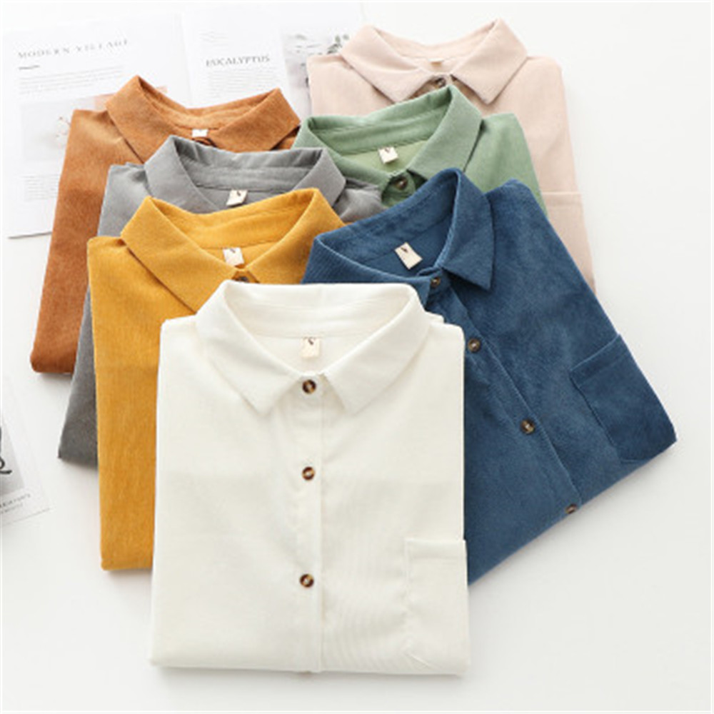 2020 Spring New Women Long Sleeve Solid Color Women's Corduroy Shirt Blouse Casual Large Size Loose Blouses Lady Tops PZ3158(China)