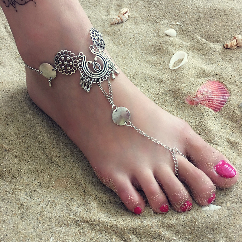 AMORUI Vintage Bohemia Style Hollowed Tassel Women Anklet Antique Silver Color Water Drop Shaped Summer Beach Jewelry