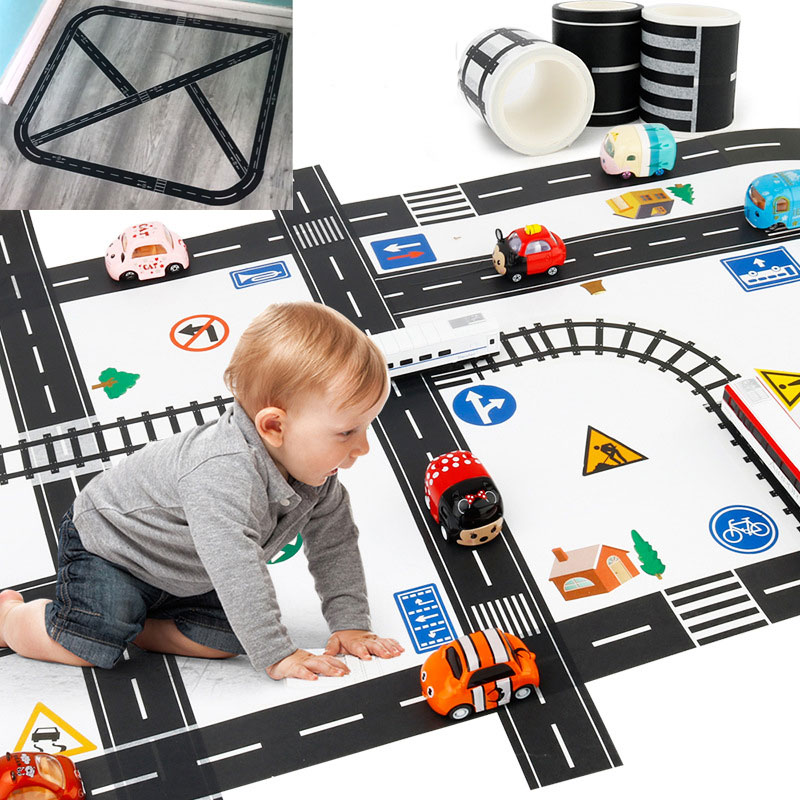 Creative Traffic Railway Road Washi Tape Adhesive Tape DIY Scrapbooking Sticker Label Craft Masking Tape For Kids Toy Car Play