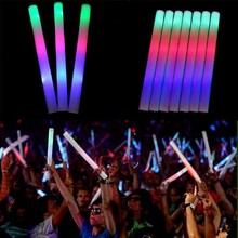 12Pcs/Set Colorful Party Foam Baton LED Light Stick Rally Flashing DJ Glow Wand Concert Large Flash