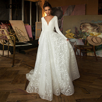 LORIE White Lace Wedding Dresses Boho 2020 Long Sleeve V neck A line Beach Bridal Gowns Satin Backless Plus size Custom made