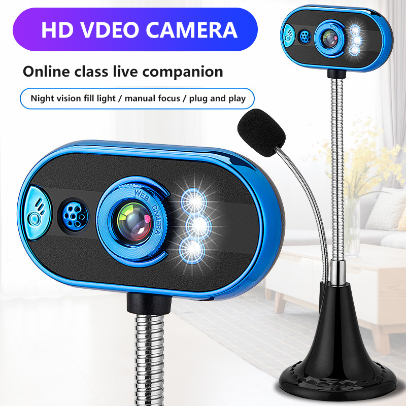 480p Computer Camera Home Office Microphone Free Drive USB Webcam With Mic Night Vision Webcam USB Interface USB 3.0 USB 2.0