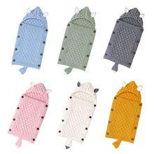 Новорожденных Baby Пеленальное Одеяло Вязать Крючком Зима Теплая С Капюшоном Спальный Мешок Обернуть