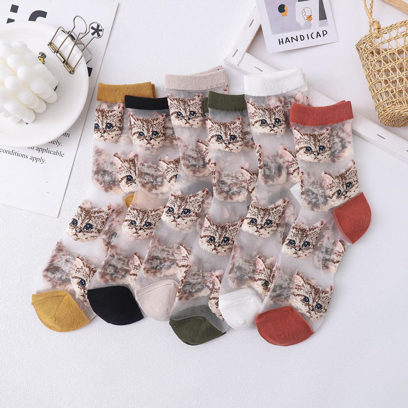 2020 Spring And Summer New Socks Women Socks Glass Socks Cute Cat Ladies Tube Socks Card Socks