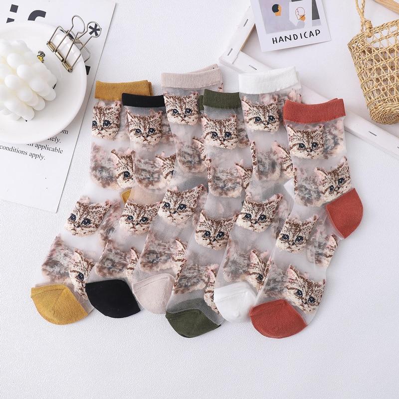 2020 Spring And Summer New Socks Women Socks Glass Socks Cute Cat Ladies Tube Socks Card Socks
