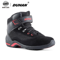 Men Motorcycle Boots Summer Mesh Breathable Moto Boots Road Street Black Casual Shoes Motorbike Protective Gear Boots DUHAN