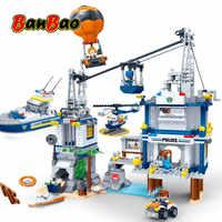 BanBao Polizei Station Gefängnis Insel Kabel Auto Feuer Ballon Steine Pädagogisches Bausteine Spielzeug Modell 7020 Kinder Kinder Geschenk