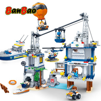 BanBao Police Station Prison Island Cable Car Fire Balloon Bricks Educational Building Blocks Toy Model 7020 Children Kids Gift