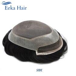 Eeka cabelo masculino toupee laço frente descorado nós hairpiece fora preto médio densidade índia remy do cabelo 6x8