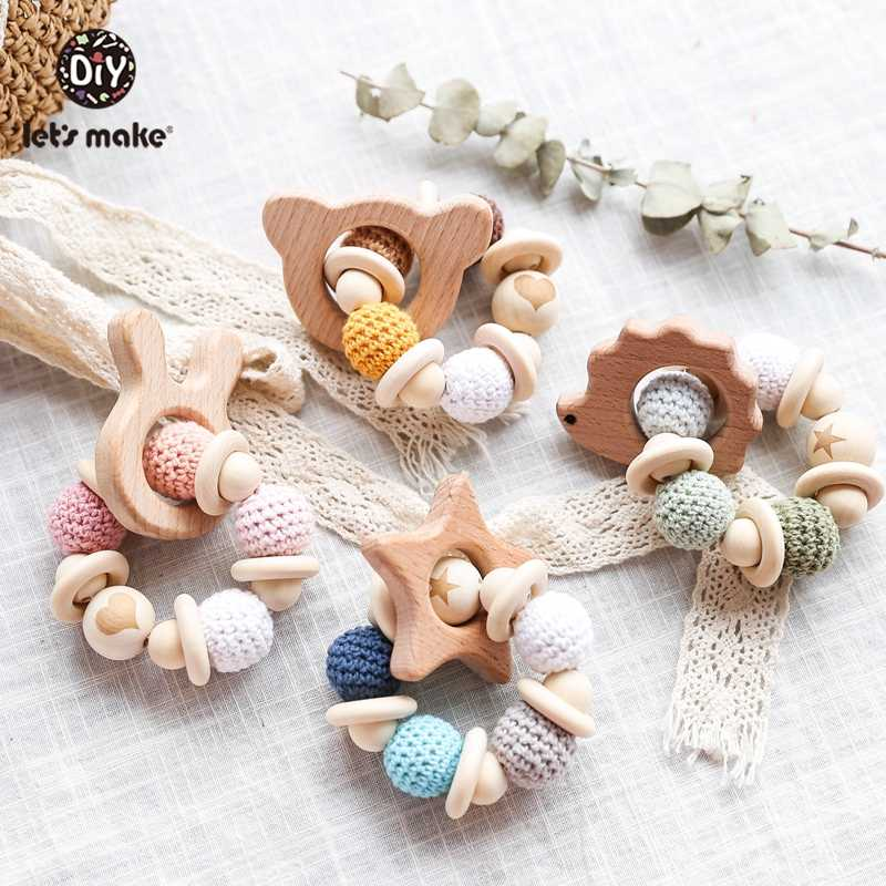 Let's Make 1PC Wooden Teether Hedgehog Crochet Beads Wood Crafts Ring Engraved Bead Baby Teether Wooden Toys For Baby Rattle