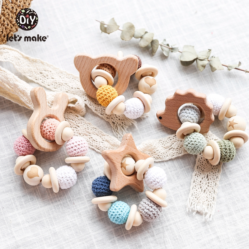 Baby Play Gym Silicone Chew Toy Baby Teether Wood Ring String Wooden Beads SI