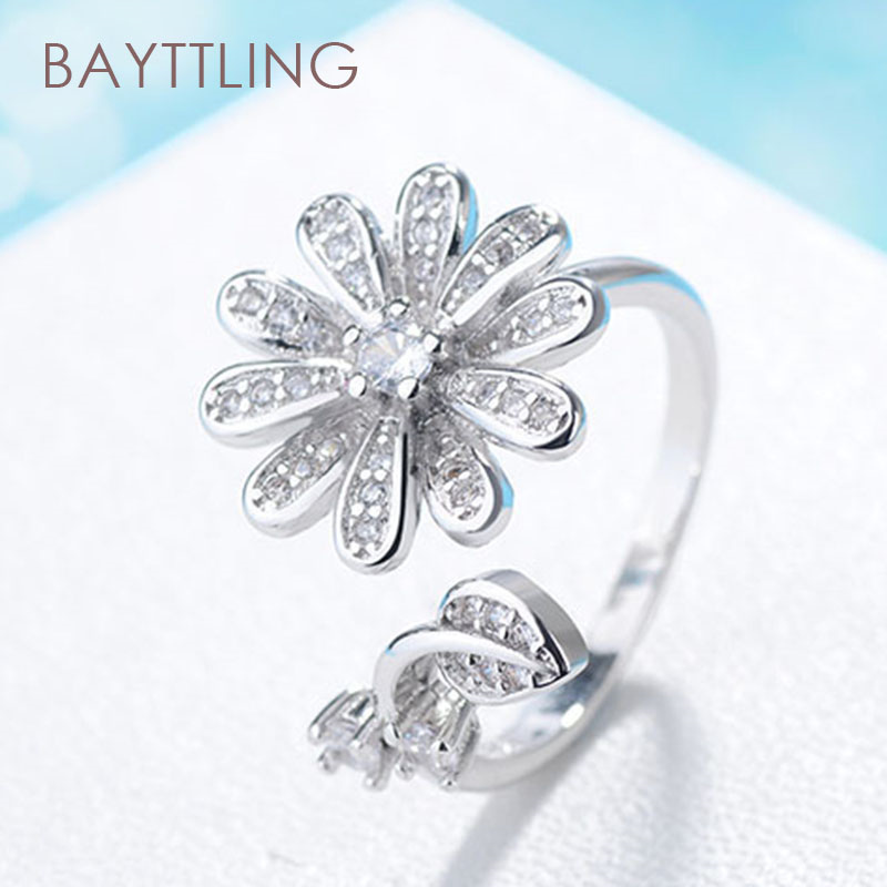 BAYTTLING S925 Sterling Silver Fine Rose Gold/Silver Flower Zircon Open Ring For Woman Fashion Wedding Jewelry Ring Gift