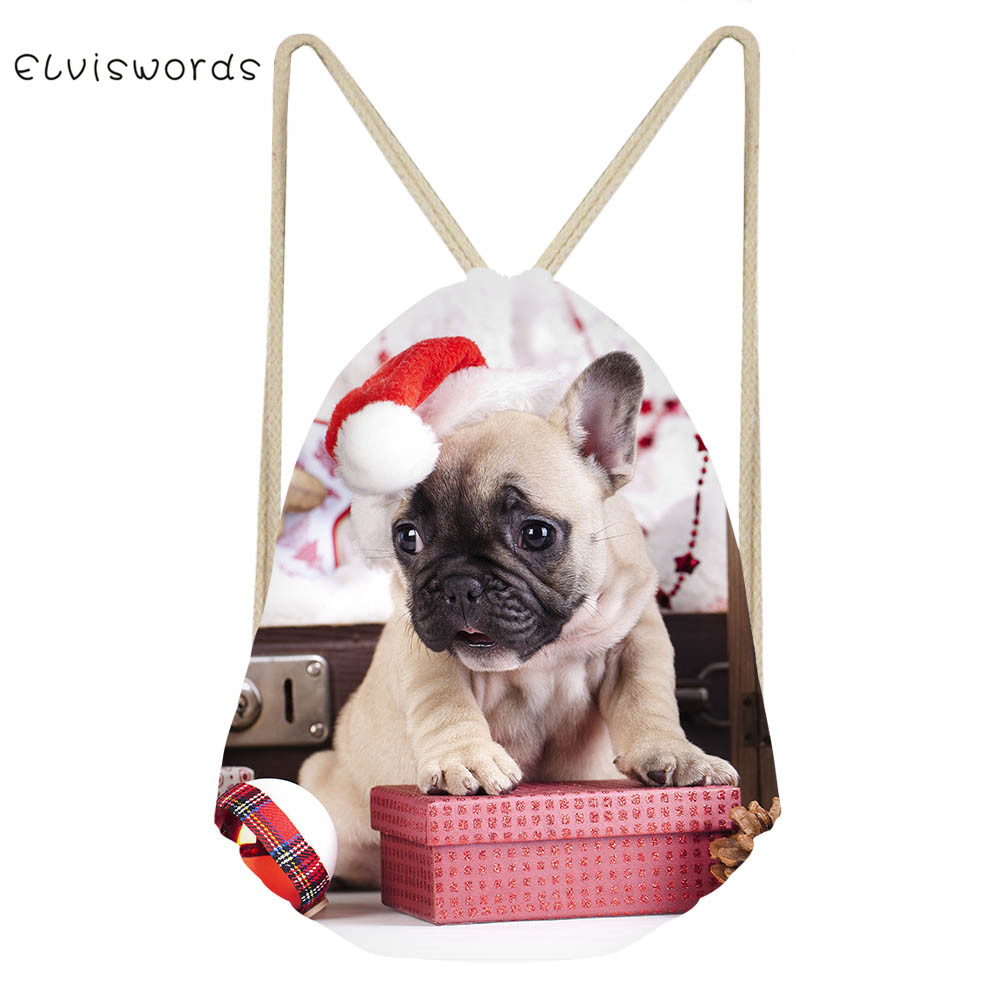 ELVISWORDS Drawstring Backpack Women Sport Travel Bags Christmas Puppy Dog Print Swim Beach Backpack Kid Gift Bag Multi-purpose