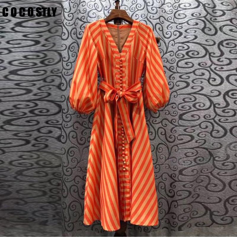 Striped Long Dress 2020 Fashion Style Women V-Neck Tunic Buttons Up Lantern Sleeve Vintage Party Long Maxi Dress Orange vestidos
