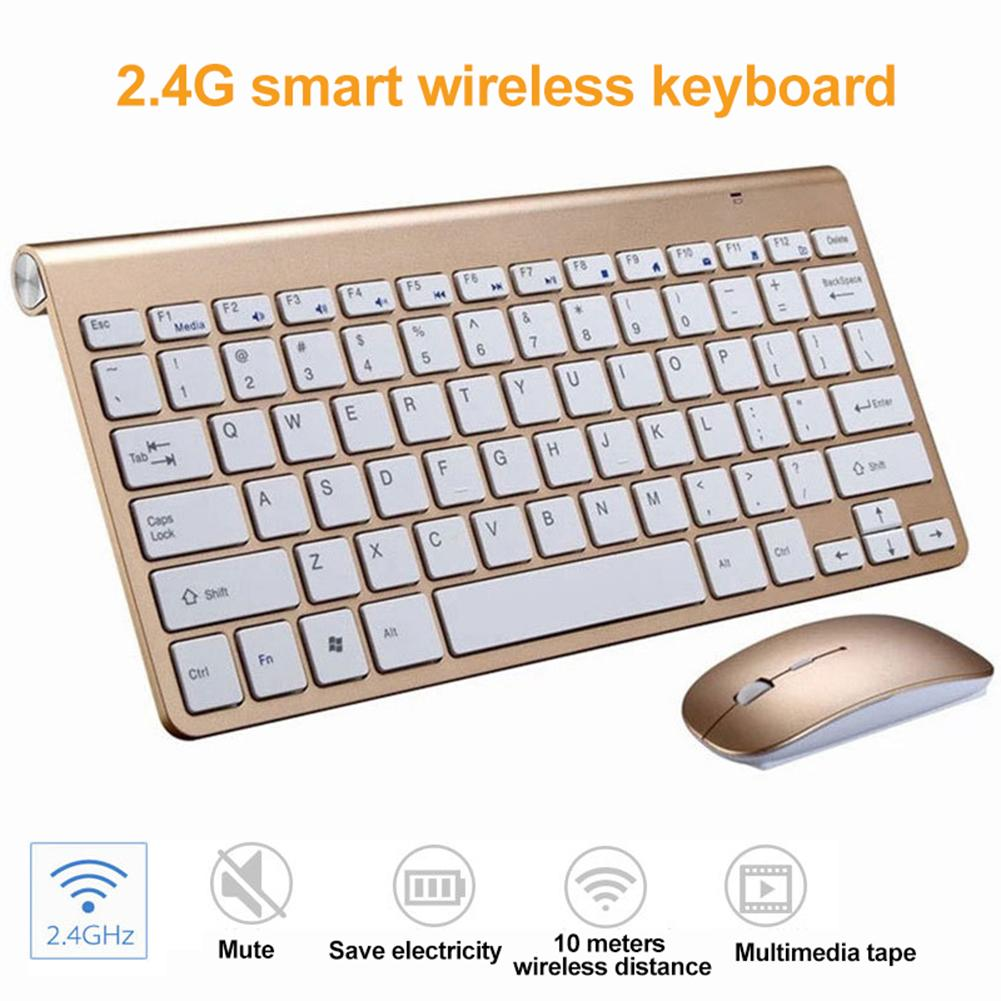 Ultra-thin 2.4G USB Wirelesss Mute Keyboard Mouse Kit For Smart TV Desktop PC Keyboard Mouse Set Clavier Gamer клавиатура