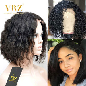 Human Hair Wig Wavy Straight Curly 13X6 Bob Lace Front Wig For Black Women Pre Plucked Brazilian Hairline With Baby Hair VRZ(China)