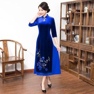 Image 2 - 2019 satış yüksek Quinceanera Vietnam kadife Cheongsam geliştirilmiş Qipao elbise uzun el boyalı kadın yeni fon sonbahar kış