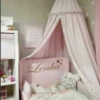 Algodão decoração do quarto do bebê bolas mosquiteiro crianças cama cortina dossel redonda berço rede tenda fotografia adereços baldachin 245cm