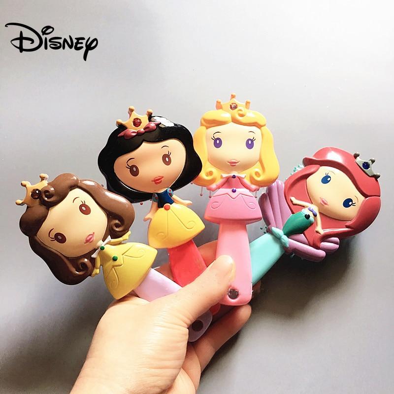 Disney Frozen 2 Kids Comb 3D Princess Hair Brushes Hair Care Baby Girl Mermaid Comb Children Massage Newborn Elsa Accessories