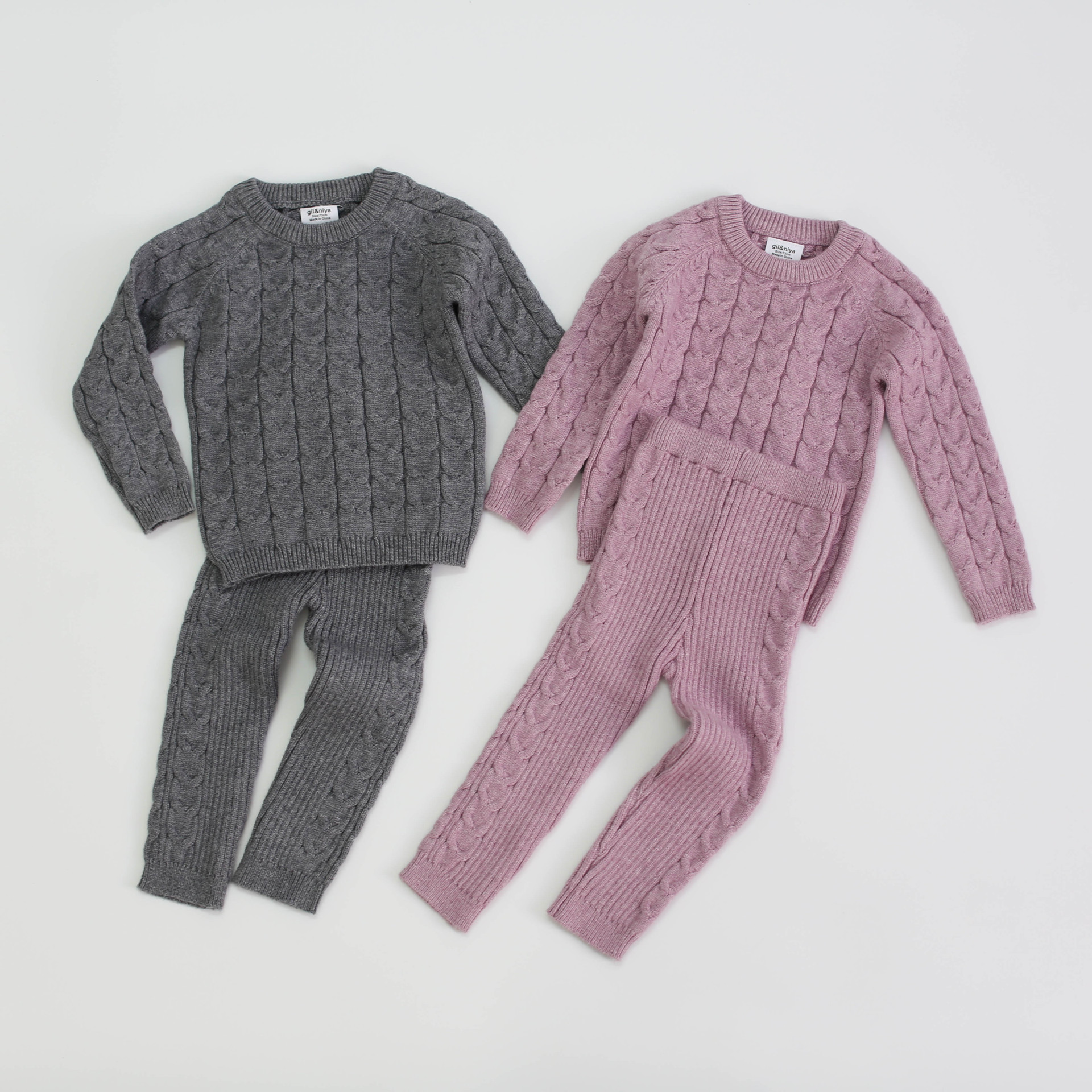 Baby Girls Boys Knit Suit toddler children Clothing Sets Winter knitting Pullover Sweater+Pants Infant kids Tracksuits pink gray 1